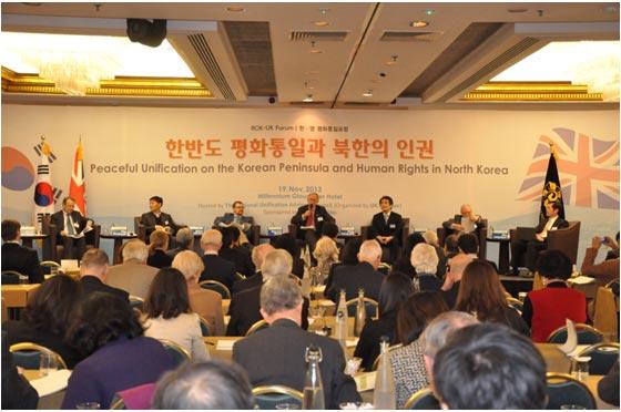 Senator David Alton, Dr. Kim Kwang-jin, Prof. Adam Cathcart, President Warwick Morris, Prof. Hong Seong-pil, Prof. James E. Hoare and Dr. Jo Jeong-hyun, from left to right